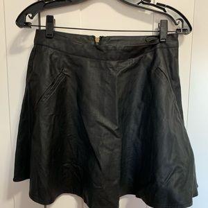 ASTR Black Faux Leather Skater Mini Skirt, S